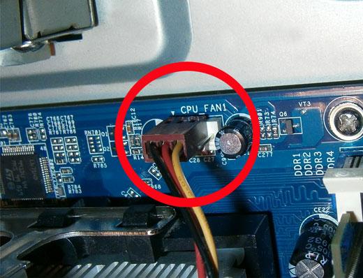 Подключение провода питания кулера